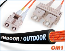 OM1 LC SC In/Outdoor Duplex Fiber Patch Cable 62.5/125 Multimode