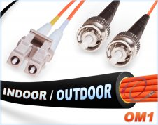 OM1 LC ST In/Outdoor Duplex Fiber Patch Cable 62.5/125 Multimode