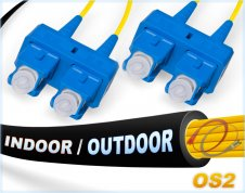 OS2 SC SC In/Outdoor Duplex Fiber Patch Cable 9/125 Singlemode