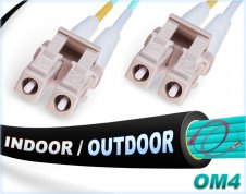 OM4 LC LC In/Outdoor Duplex Fiber Patch Cable 100G Multimode 50/125