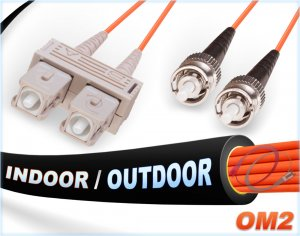 OM2 SC-ST Indoor/Outdoor 50/125 Multimode DX Fiber Cable