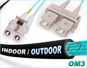 OM3 LC-SC 10Gb In/Outdoor 50/125 Multimode DX Fiber Cable