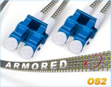OS2 LC LC Armored Duplex Fiber Patch Cable Singlemode 9/125