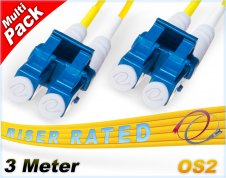 Multi-Pack 3M OS2 LC LC Fiber Patch Cables 9/125 Duplex Singlemode