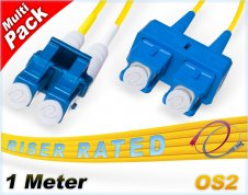 Multi-Pack 1M OS2 LC SC Fiber Patch Cables 9/125 Duplex Singlemode | 1 Meter LC SC SMF Jumper Cords