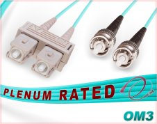 OM3 SC ST Plenum Duplex Fiber Patch Cable 10G Multimode 50/125