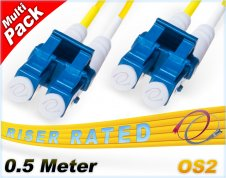 Multi-Pack 0.5M OS2 LC LC Fiber Patch Cables 9/125 Duplex Singlemode