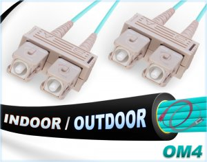 OM3 SC SC In/Outdoor Duplex Fiber Patch Cable 10G Multimode 50/125