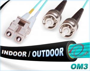OM3 LC ST In/Outdoor Duplex Fiber Patch Cable 10G Multimode 50/125