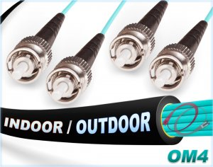 OM4 ST ST In/Outdoor Duplex Fiber Patch Cable 100G Multimode 50/125