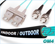 OM4 SC ST In/Outdoor Duplex Fiber Patch Cable 100G Multimode 50/125